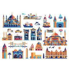 Travel istanbul elements and turkey clip arts vector