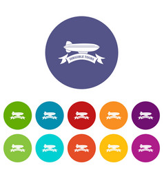 trip dirigible icons set color vector image