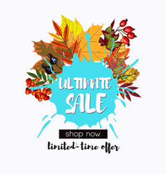 Ultimate sale design with fall leaves wreath vector