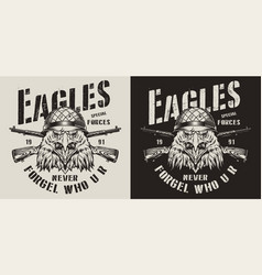 Vintage animal soldier monochrome logotype vector
