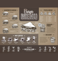 vintage burger menu design on cardboard vector image