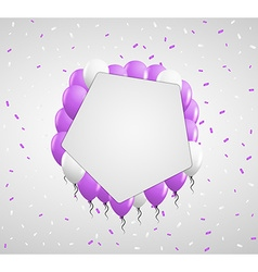 Violet balloons and confetti vector