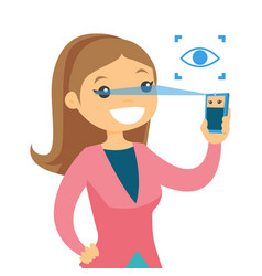 white woman scanning eyes with smartphone vector image