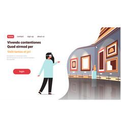 Woman wear digital glasses virtual reality art vector