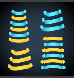 yellow and cyan ribbon banners set vector image