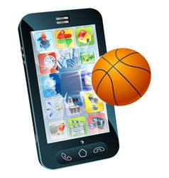 basketball ball cell phone vector image vector image