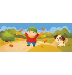 Boy Walking In Autumn Park vector image