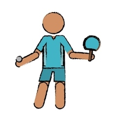 drawing character ping-pong player with racket vector image vector image
