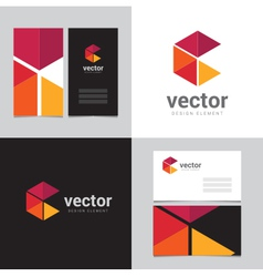 Logo design element with two business cards - 17 vector image vector image