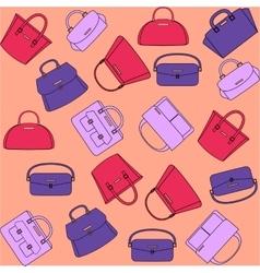Pattern of colorful handbags on orange background vector image