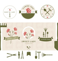 Set of flowers shop labels and design elements vector image vector image