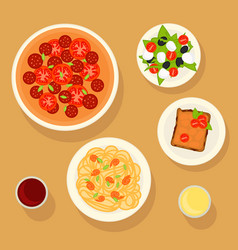 Traditional italian dishes set vector