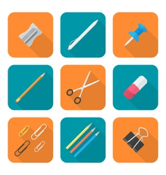 colored flat style various stationery icons set vector image vector image