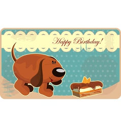 greeting card with a funny dog and cake in vintage vector image vector image