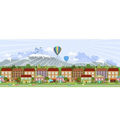 panorama summer city life vector image