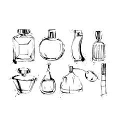 Perfume bottles set Fashion sketch Hand drawn vector image