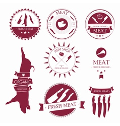 Set of meat shop labels and design elements vector image vector image