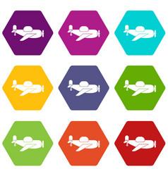 toy plane icon set color hexahedron vector image
