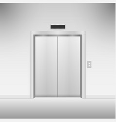 closed chrome metal elevator doors vector image