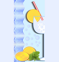 cold drink poster with glass red straw orange vector image