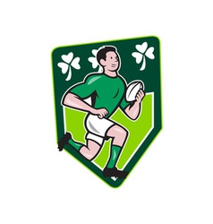 Irish Rugby Player Running Ball Shield Cartoon vector image vector image