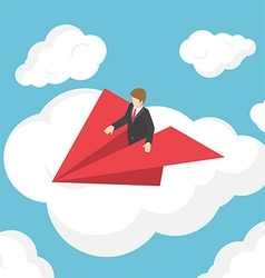 Isometric businessman on paper airplane vector image vector image