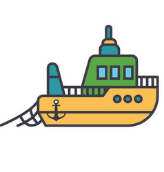 boat fishing flat line concept vector image vector image