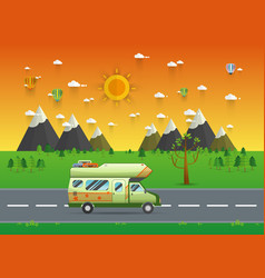 family traveler truck driving on the road vector image vector image