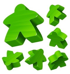 Green wooden Meeple set vector image