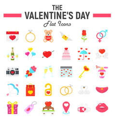 happy valentines day flat icon set vector image vector image