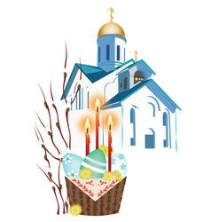 orthodox church and a basket with Easter eggs vector image vector image