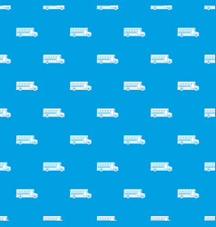school bus pattern seamless blue vector image vector image