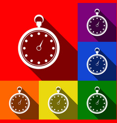 stopwatch sign set of icons vector image vector image