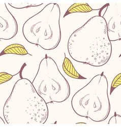 Stylized yellow pear seamless pattern vector image vector image
