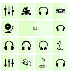 14 dj icons vector image