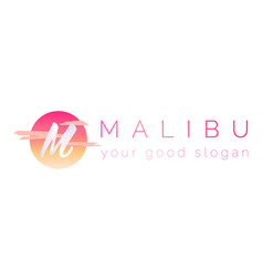 3d logo the letter m and the word malibu vector
