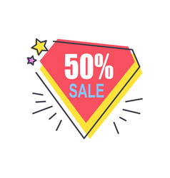 50 off price diamond sticker abstract discount vector image