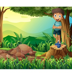 A smiling boy above a stump of a tree vector