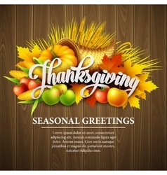 a Thanksgiving cornucopia full of vector image