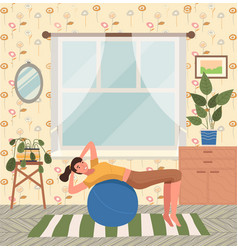 a young girl is engaged in pilates with a ball vector image