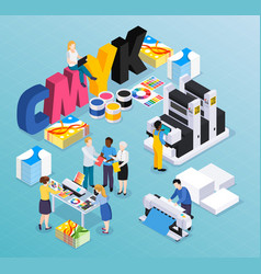 advertising agency isometric composition vector image