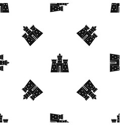 Ancient castle palace pattern seamless black vector