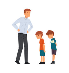 angry father scolding his naughty sons vector image