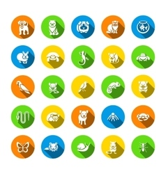 Animals pets flat round icons set vector
