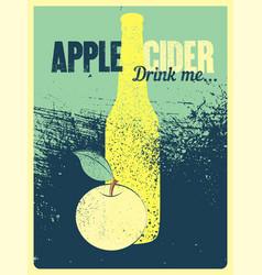 apple cider typographical vintage grunge poster vector image