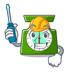 Automotive kitchen scale mascot cartoon vector
