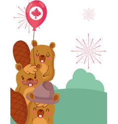 Beavers with canadian balloon design vector