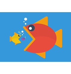Big fish eat little fish Flat style vector image