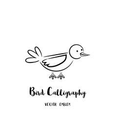 Bird calligraphy emblem vector