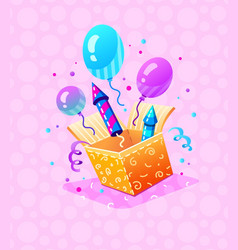 Birthday party gift box vector